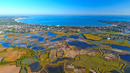 Aerial photography of La Baule Escoublac from Guerande salt marshes Standard-Bild