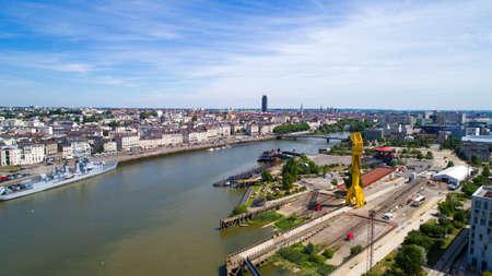 Aerial view of Nantes city in Loire Atlantique