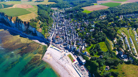 Aerial view on Yport in Normandy, France Stock Photo