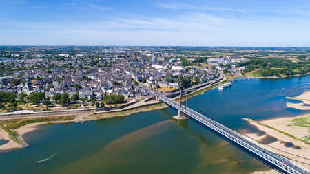 Aerial view of Ancenis bridge and city