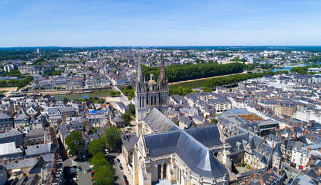 Aerial photo of Saint Maurice cathedral in Angers