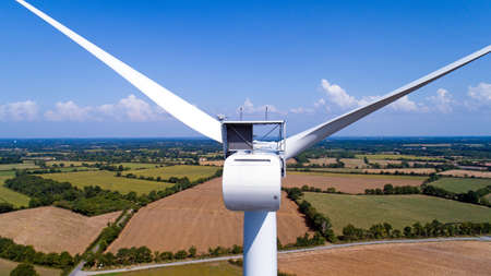 the loire: Aerial view of a wind turbine in a field Stock Photo