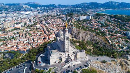 Aerial view of Notre Dame de la Garde Basilica in Marseille