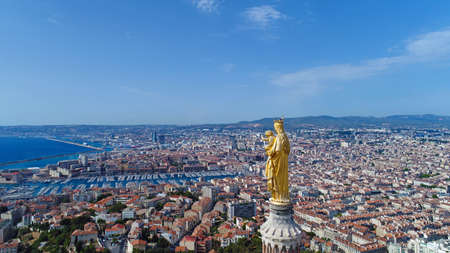 Aerial view of Notre Dame de la Garde Basilica in Marseille Stock Photo - 86146115