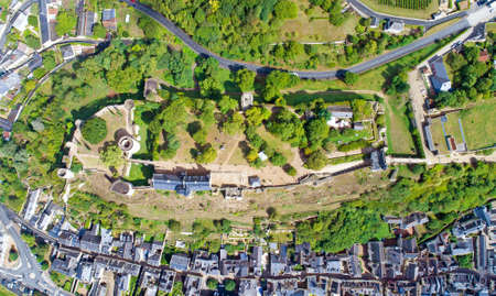 royals: High angle view of Chinon castle in Indre et Loire