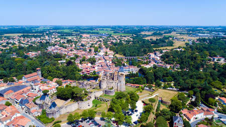 Aerial photo of Clisson city center and castle in Loire Atlantique Stock Photo