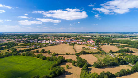 Aerial photo of Frossay village in Loire Atlantique Imagens
