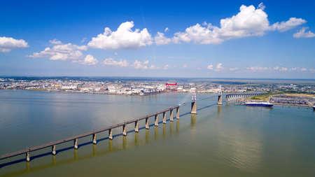 the loire: Aerial photography of Saint Nazaire bridge