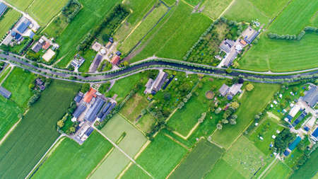 patchwork: Aerial view of Snelrewaard hamlet in the Netherlands