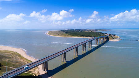 Aerial view of Noirmoutier bridge