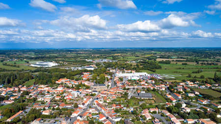 the loire: Aerial view of Chemere village, France Stock Photo