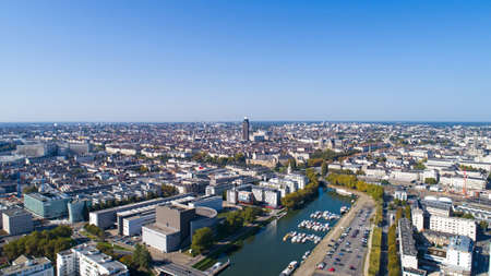 Aerial view of Nantes city center in Loire Atlantique Stock Photo