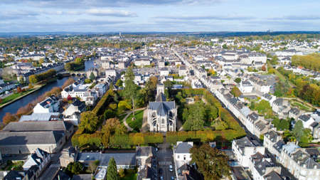 Aerial view of Saint Joseph church and Langlier square in Pontivy