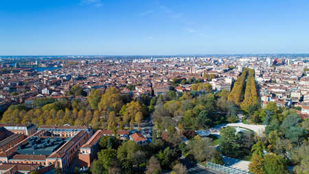 Aerial view of Toulouse city center from the big roundabout park
