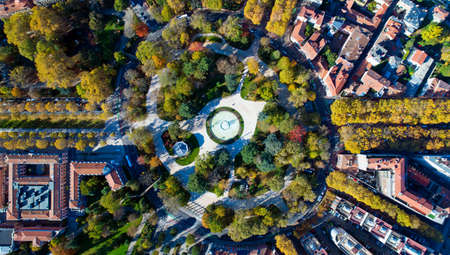 Aerial view of the big roundabout park in Toulouse city