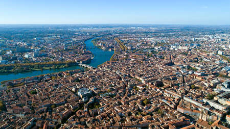 Aerial view of Toulouse city in Haute Garonne, France