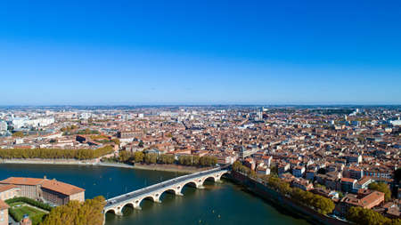 Aerial photo of Toulouse city in Haute Garonne, France