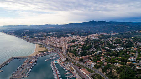 Aerial photography of Arenys de Mar city in Spain