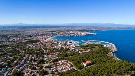 Aerial photography of LEscala city in Spain Stock Photo