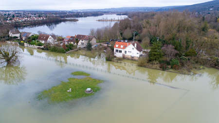 Houses flooded in Triel sur Seine, Yvelines, France Stock Photo