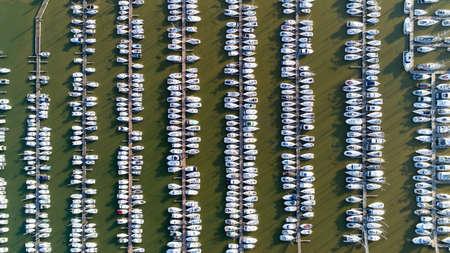 Aerial photography of Pornic city marina in Loire Atlantique