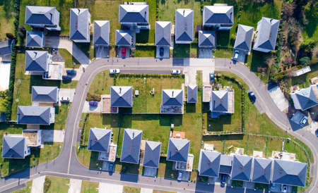 Aerial photo of houses in a residential area of Sautron, Loire Atlantique