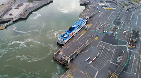 Aerial view of a ferry boat in Calais port, France