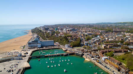 Aerial photography of Folkestone city, Kent, England