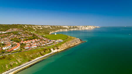 Aerial view of the english coast in Folkestone, Kent