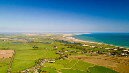 Aerial photography of Camber and Rye Harbour in East Sussex 版權商用圖片