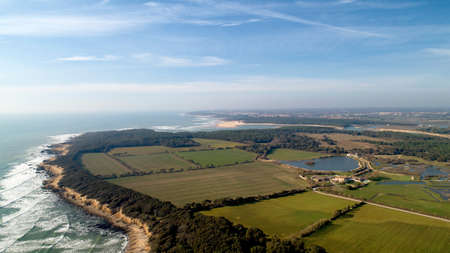 Aerial view of the Payre point and Bouliniere marshes in Vendee, France