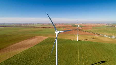 Wind turbines in the fields, Le Langon, France