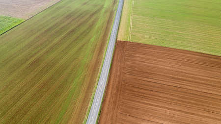 Aerial view of a road in the middle of the fields in Vendee Stok Fotoğraf
