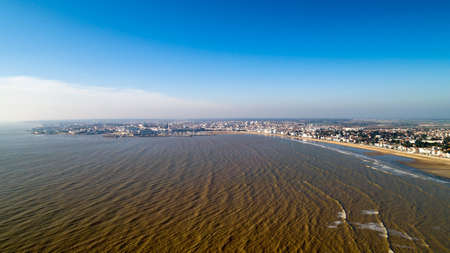 Aerial view of Royan city and beach at sunset, in Chanrente Maritime