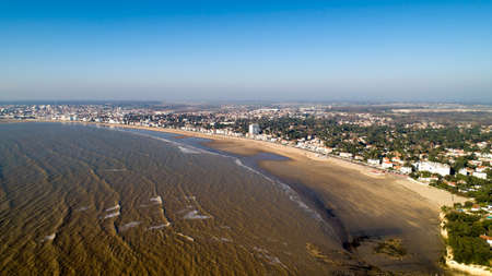 Aerial view of Royan beach at sunset, in Chanrente Maritime Stok Fotoğraf