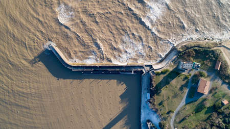 Aerial photo of La Valliere lighthouse in Saint Georges de Didonne port Stok Fotoğraf