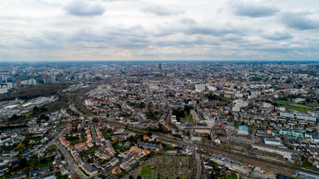 Aerial view of Nantes city on a cloudy day, France Stok Fotoğraf