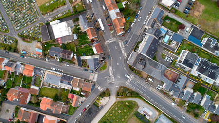 Aerial photo of a crossroad in Nantes city, France Stok Fotoğraf