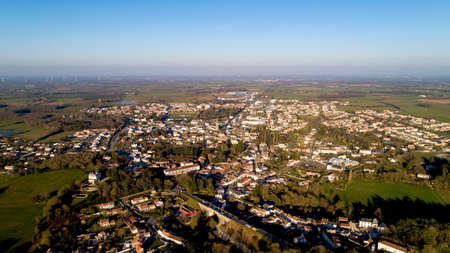 Aerial photo of Rocheserviere in Vendee, at sunset