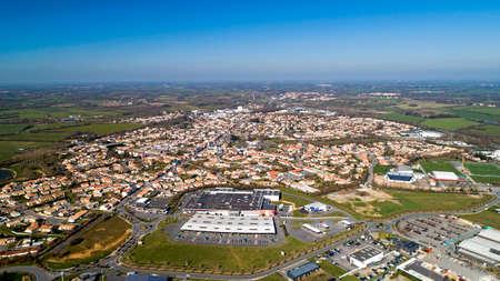 Aerial view of Belleville sur Vie in Vendee