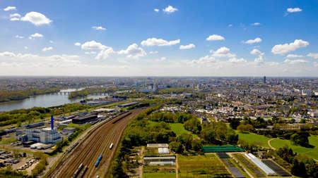 Aerial view of Nantes city skyline in Loire Atlantique, France Stok Fotoğraf