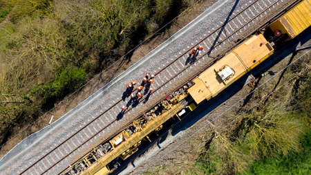 Aerial view of workers on a railway construction site