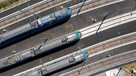 Passenger trains lined up in Nantes Blottereau station