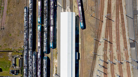 Aerial photography of trains in Nantes Blottereau station