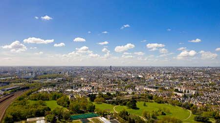 Aerial view of Nantes city skyline in Loire Atlantique