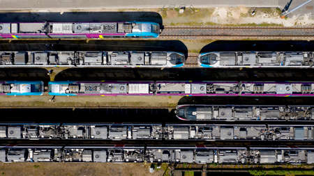 Aerial photography of passenger trains in Nantes Blottereau station