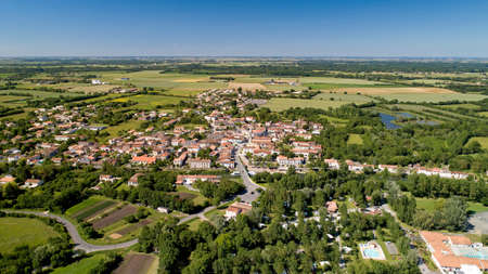 Aerial photography of Damvix in the Poitevin marsh, Vendee