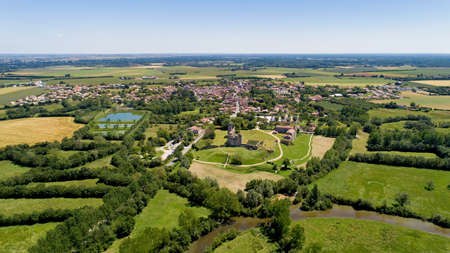 Aerial view of Maillezais abbey in the Poitevin marsh
