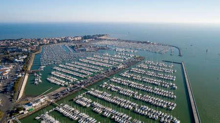 Aerial photo of boats in the Minimes harbor, La Rochelle Stok Fotoğraf