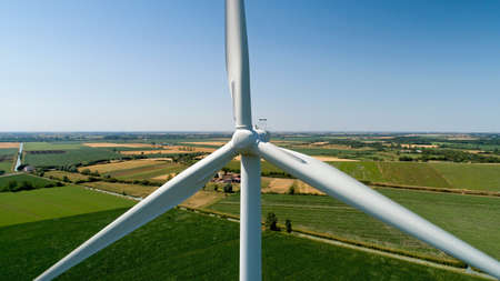 Close up photography of a wind turbine in the countryside, France Stok Fotoğraf